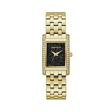 Caravelle by Bulova Women's Goldtone Watch with Black Crystal Dial