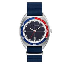 Caravelle Men's Blue Nylon Strap Watch