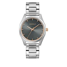 Caravelle Silvertone Stainless Steel Women's Gray Dial Bracelet Watch