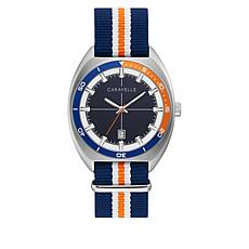 Caravelle Stainless Steel Men's Blue and Orange Nylon Strap Watch