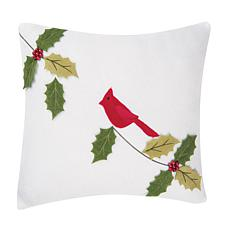 Cardinal with Holly Applique Pillow