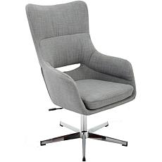 Carlton Gray Wingback Stationary Office Chair with Chrome Base