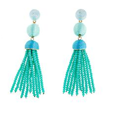 "Caroline Hill ""Tristan"" Thread Ball Seed Bead Tassel Earrings"