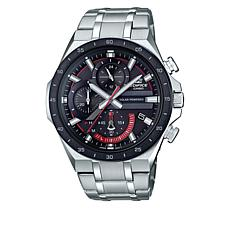 Casio Men's Edifice Solar-Powered Black and Red Chronograph Watch