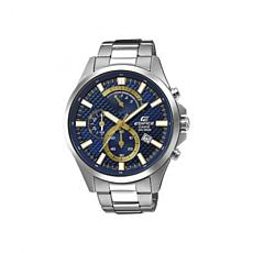 Casio Men's Edifice Stainless Steel Blue & Gold-Tone Dial Chronograph