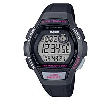 Casio Women's Digital 200-Lap Step Tracker Watch - Black