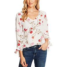 CeCe Enchanted Flower Tie-Sleeve Top