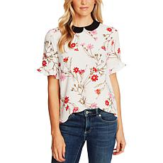 CeCe Enchanted Wildflower Collared Top