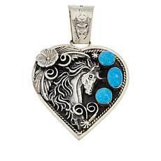 Chaco Canyon 3-Stone Kingman Turquoise Heart-Shaped Horse Pendant