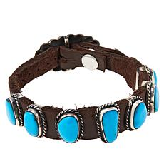 Chaco Canyon 7-Stone Kingman Turquoise Leather Bracelet
