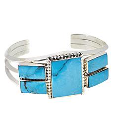 "Chaco Canyon Blue Kingman Turquoise Rectangular Cabochon 7-1/8"" Cuff"