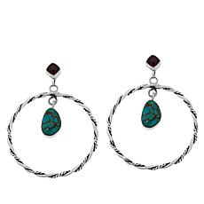 Chaco Canyon Couture Turquoise Twisted Hoop Drop Earrings