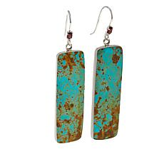 Chaco Canyon Green Ceremonial Turquoise and Garnet Dangle Earrings