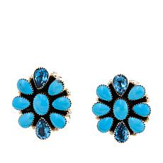 Chaco Canyon Kingman Turquoise & Blue Topaz Cluster Earrings