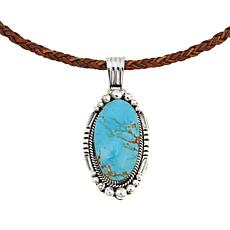 Chaco Canyon Oval Turquoise Pendant with Leather Cord