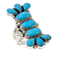 Chaco Canyon Pear and Oval Kingman Turquoise Elongated Ring