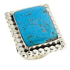 Chaco Canyon Rectangular Blue Kingman Turquoise Statement Ring