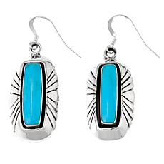 Chaco Canyon Rectangular Kingman Turquoise Etched Dangle Earrings