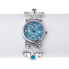 Chaco Canyon Sleeping Beauty Turquoise and Topaz Watch