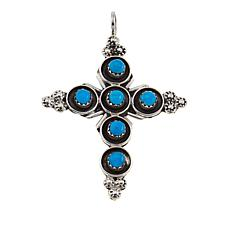 Chaco Canyon Sleeping Beauty Turquoise Budded Cross Pendant