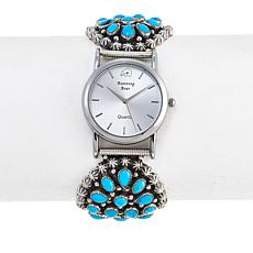 Chaco Canyon Sleeping Beauty Turquoise Cluster Sterling Silver Watch