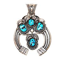 Chaco Canyon Sleeping Beauty Turquoise Squash Blossom Pendant