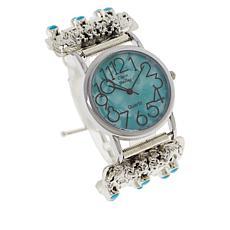 Chaco Canyon Sleeping Beauty Turquoise Wolf Bracelet Watch