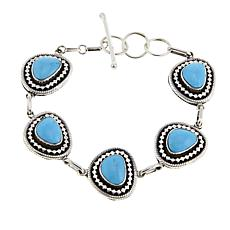 Chaco Canyon Southwest Sterling Silver Turquoise Line Bracelet