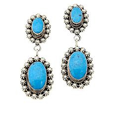 Chaco Canyon Sterling Silver Double Oval Kingman Turquoise Earrings
