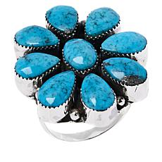 Chaco Canyon Sterling Silver Kingman Turquoise Flower  Ring