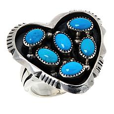 Chaco Canyon Sterling Silver Kingman Turquoise Heart Ring