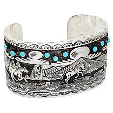 Chaco Canyon Sterling Silver Kingman Turquoise Horses Cuff