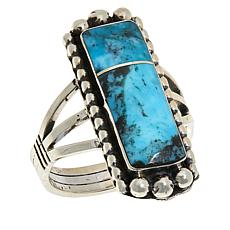 Chaco Canyon Sterling Silver Kingman Turquoise Inlay Rectangular Ring