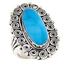 Chaco Canyon Sterling Silver Kingman Turquoise Swirl Frame Ring