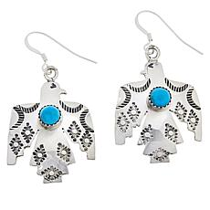 "Chaco Canyon Sterling Silver Kingman Turquoise ""Thunderbird""  Earrings"