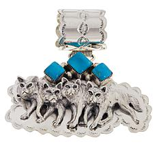 Chaco Canyon Sterling Silver Kingman Turquoise Wolf Pendant