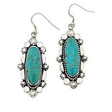 Chaco Canyon Sterling Silver Oval Ceremonial Turquoise Drop Earrings