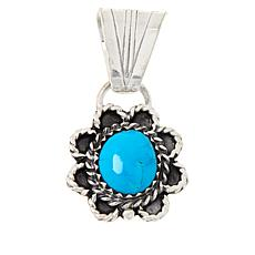 Chaco Canyon Sterling Silver Sleeping Beauty Turquoise Flower Pendant