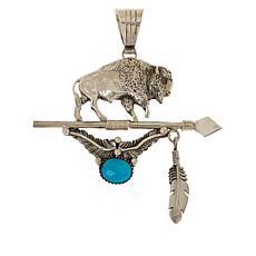 Chaco Canyon Sterling Silver Sleeping Beauty Turquoise Buffalo Pendant