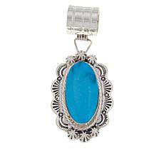Chaco Canyon Sterling Silver Stamped Sun Turquoise Pendant