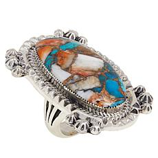 Chaco Canyon Sterling Silver Turquoise and Spiny Oyster Composite Ring
