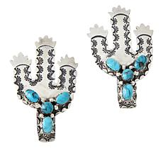 Chaco Canyon Sterling Silver Turquoise Cactus Earrings