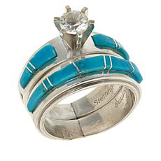 Chaco Canyon Sterling Silver White Topaz and Turquoise Ring