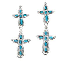 Chaco Canyon Sterling Silver Zuni Turquoise Cross Double Drop Earrings