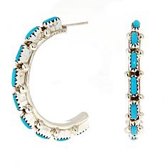 Chaco Canyon Sterling Silver Zuni Turquoise Hoop Earrings