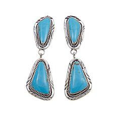 Chaco Canyon Triangle Kingman Turquoise Earrings