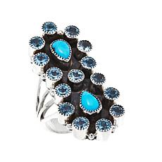 Chaco Canyon Turquoise and Swiss Blue Topaz Elongated  Ring