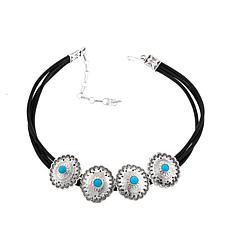 Chaco Canyon Turquoise Concho Leather Choker