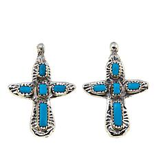 Chaco Canyon Zuni Sleeping Beauty Turquoise Cross Earrings