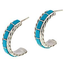Chaco Canyon Zuni Sleeping Beauty Turquoise Hugger Hoop Earrings